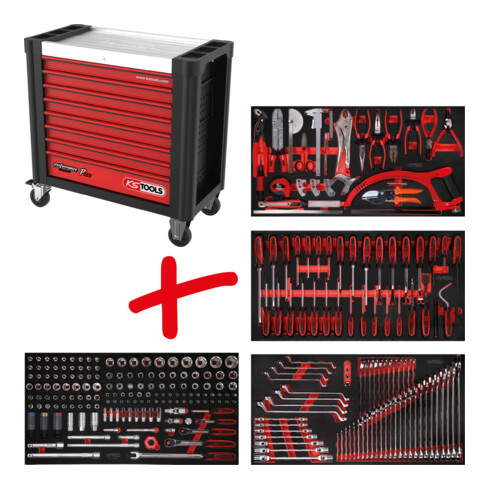 KS Tools Performanceplus Werkstattwagen-Satz P25 mit 285 Werkzeugen für 4 Schubladen