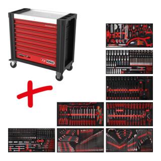 KS Tools Performanceplus Werkstattwagen-Satz P25 mit 564 Werkzeugen für 8 Schubladen