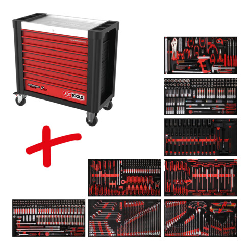 KS Tools Performanceplus Werkstattwagen-Satz P25 mit 660 Werkzeugen für 8 Schubladen