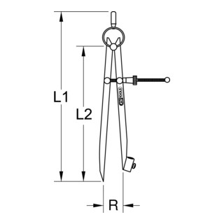 KS Tools Präzisions-Feder-Spitzzirkel mit Bleistifthalter