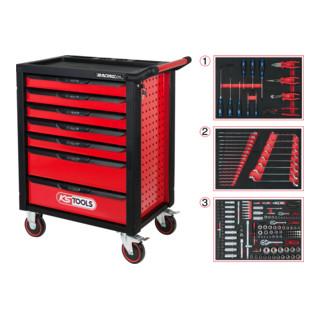 KS Tools RACINGline SCHWARZ/ROT Werkstattwagen mit 7 Schubladen und 215 Premium-Werkzeugen