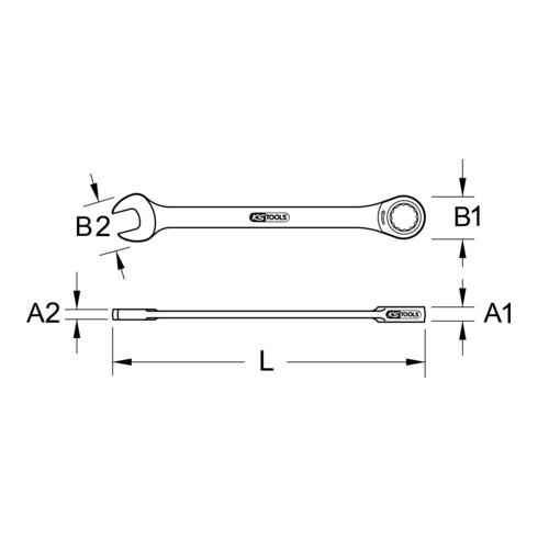 KS Tools Ringratschenschlüssel, gerade (metrisch)