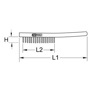 KS Tools Stahl-Handdrahtbürste, 290 mm