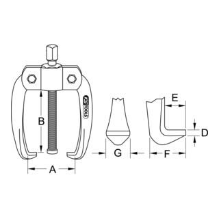 KS Tools Universal-Abzieher 2-armig, 10-50mm, 8,5mm