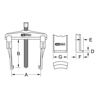 KS Tools Universal-Abzieher 2-armig mit schlanken und verlängerten Haken, 20-90mm, 120mm