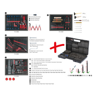 KS Tools Universal-Systemeinlagen-Satz für 4 Schubladen mit 515 Premium-Werkzeugen
