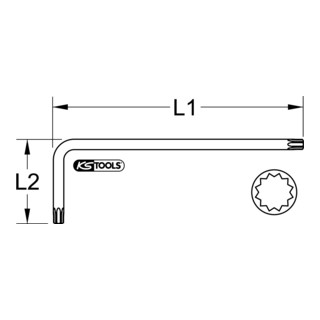 KS Tools Vielzahn (XZN®)-Winkelstiftschlüssel, XL, M5