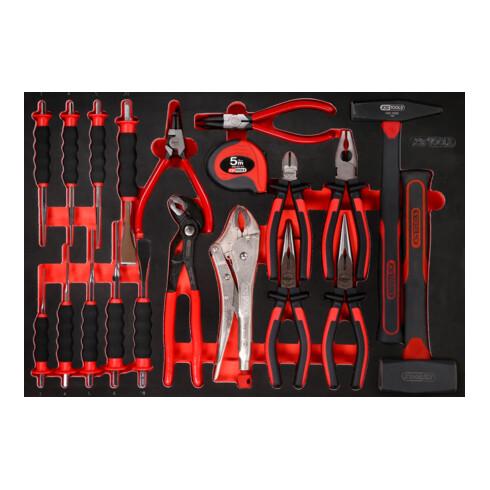 KS Tools Zangen- / Hammer- / und Meißel-Satz in Schaumstoffeinlage, 22-tlg