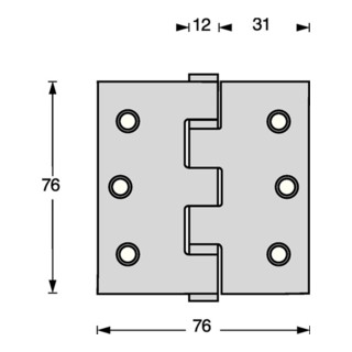 Kugellagertürscharnier VA rd 102x102mm DIN L/R ma ausziehb.Stift INTERSTEEL