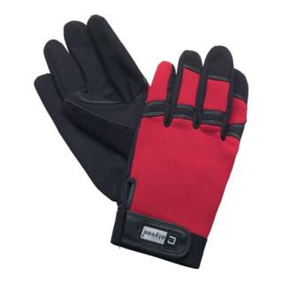 Elysee Handschuhe Mechanical Technician mit Klettverschluss schwarz/rot