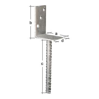 L-Pfostenträger ETA-10/0210 80x100x200x60mm TZN GAH