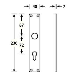 Langschild-Paar 14 1407 F1/naturf. 0105 Bad 78mm