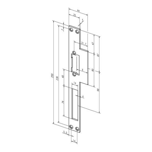 Lappenschließblech 14C ktg.B.44xL.250mm DIN L/R ASSA ABLOY
