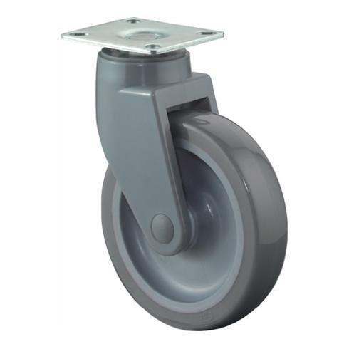 Lenkrolle C100.A83.100 D.100mm Trgf.80kg Platte 77x67mm Rad Ku./Gummi grau
