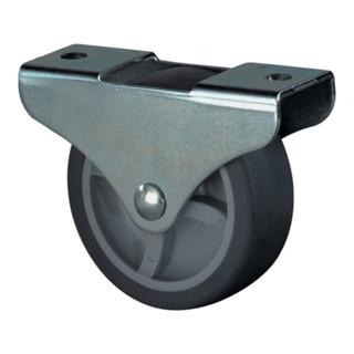 Lenkrolle D.50mm Trgf.50kg m.Platte Gum.schwarz