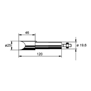 Lötspitze f.Art.Nr.872380 meißelförmig B.25mm vernickelt