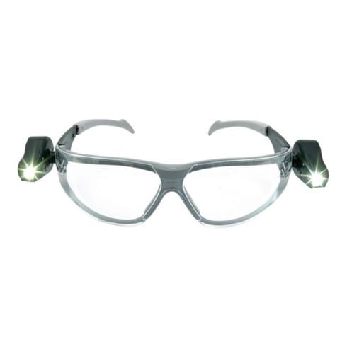 Lunettes de protection LED LIGHT VISION EN 166 monture grise/noire, verres trans