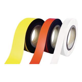 Magnetband weiß B.30mm L.10m/RL beschriftbar z.Zuschneiden
