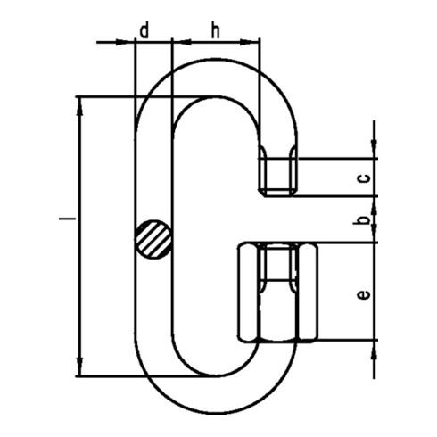 Maillon d'attache rapide taille 6 H. int. 45 mm l. d'ouv. 7,5 mm galvanisé