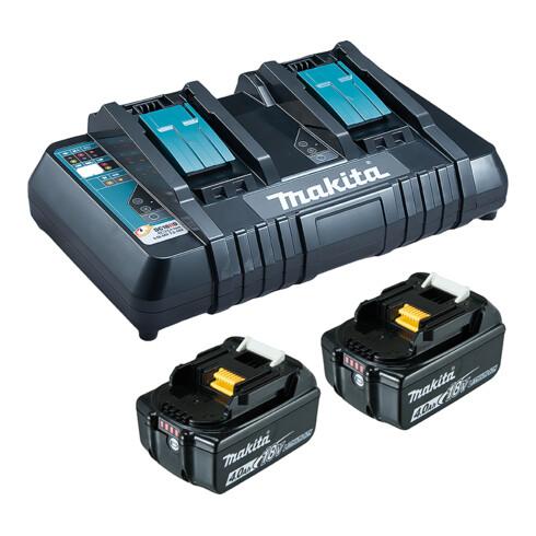 Makita Power Source Kit Li 18V 2x 4Ah Akkus + Doppelladegerät