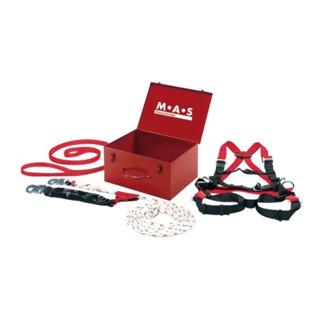 MAS Sicherheitsset 4-teilig Anschlag-Verbindunggsmittel Band Auffanggurt Stahlblechkoffer Auffanggurt Seillänge 15 m