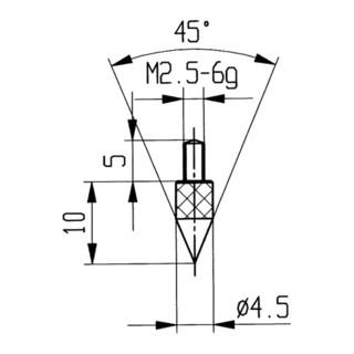 Messeinsatz 45Grad Kegel M2,5 STA f. Messuhren Käfer