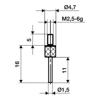 Messeinsatz D.1,5mm L.11mm Stift M2,5 HM f. Messuhren Käfer