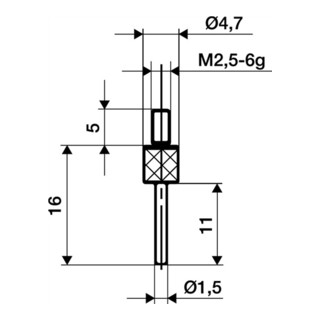 Messeinsatz D.1,5mm L.11mm Stift M2,5 HM f. Messuhren Käfer