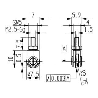Messeinsatz D.1,5mm Rl. M2,5 STA f. Messuhren Käfer