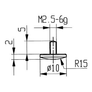 Messeinsatz D.10mm gewölbt R. 15 M2,5 STA f. Messuhren Käfer