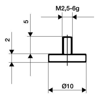 Messeinsatz D.10mm plan M2,5 STA f. Messuhren Käfer