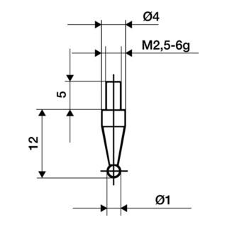 Messeinsatz D.1mm KGL M2,5 STA f. Messuhren Käfer