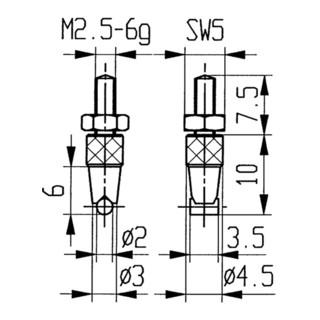 Messeinsatz D.2mm horiz. Zyl. M2,5 STA f. Messuhren Käfer