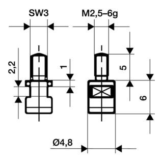 Messeinsatz D.4,8mm plan M2,5 HM f. Messuhren Käfer