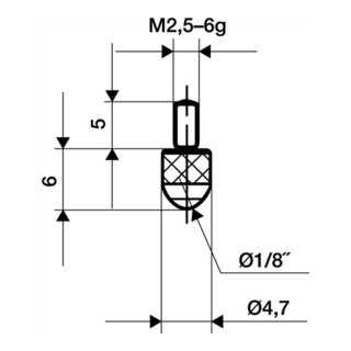 Messeinsatz L.6mm KGL M2,5 STA f. Messuhren Käfer