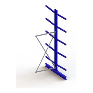 Meta Kragarmregal Anbau IPE140 doppelseitig Enzianblau + 10 Armen je Ständer