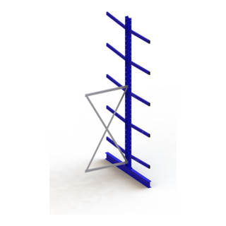 Meta Kragarmregal Anbau IPE140 doppelseitig Enzianblau + 10 Armen + Ständer Multistrong M