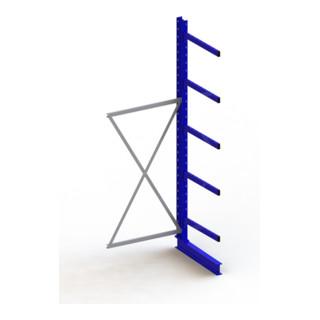 Meta Kragarmregal Anbau IPE140 einseitig Enzianblau + 5 Armen je Ständer