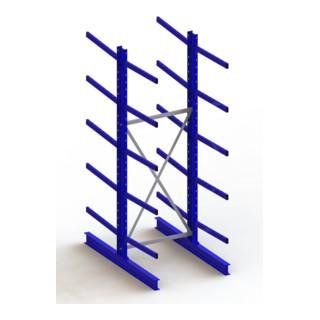 Meta Kragarmregal Grundregal IPE140 doppelseitig Enzianblau 10 Kragarmen je Ständer