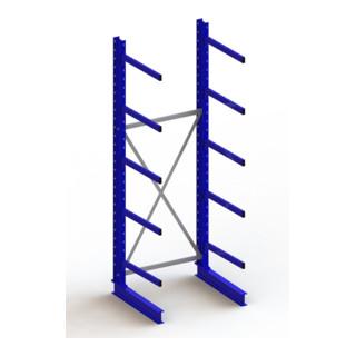 Meta Kragarmregal Grundregal IPE140 einseitig Enzianblau + 5 Kragarmen je Ständer