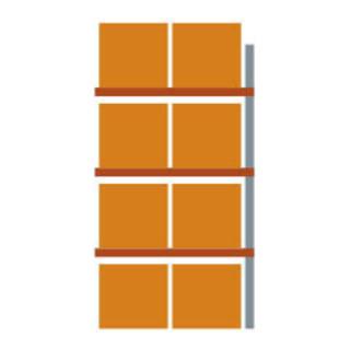 Meta Palettenregal Anbaumodul Multipal bis 1000 Kg + Palette verzinkt / rotorange 4 Ebenen