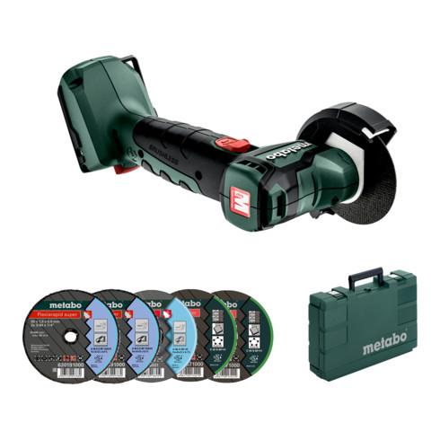 Metabo 12 Volt Akku-Winkelschleifer PowerMaxx CC 12 BL mit Trennscheiben und Kunststoffkoffer