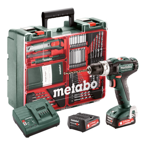 Metabo Akku-Schlagbohrschrauber PowerMaxx SB 12 Set Mobile Werkstatt; Kunststoffkoffer; 12V 2x2Ah Li-Ion + SC 30