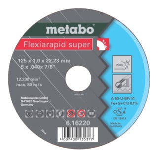 Metabo Flexiarapid super 115x0,8x22,23 mm, Inox, Trennscheibe
