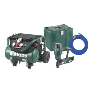 Metabo Kompressor Power 400-20 W OF Set + DKG 114-65 Klammergerät + Druckluftschlauch 10 m + MetaLoc Karton