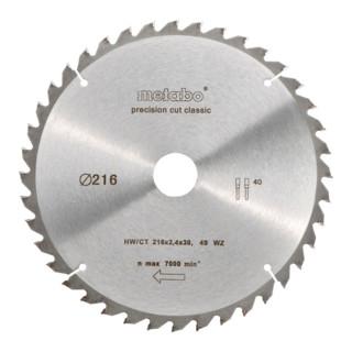 Metabo Kreissägeblatt HW/CT 216 x 30 x 2,4/1,8 Zähnezahl 40 Wechselzahn Spanwinkel 5° neg. Precision cut classic