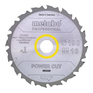 "Metabo Kreissägeblatt ""power cut wood"", Qualität professional, für Handkreissägen"