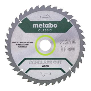 Metabo Sägeblatt cordless cut wood - classic 216x1,8/1,2x30 Z40 WZ 5°