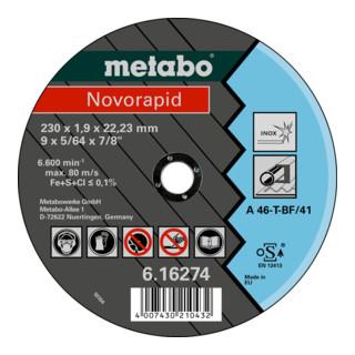 Metabo Trennscheibe Novorapid Inox gerade für Stahl