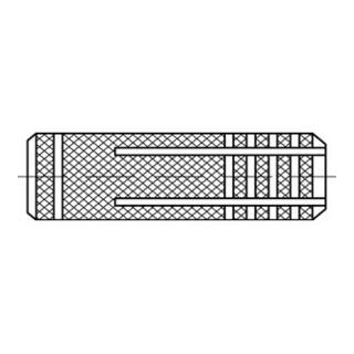 Metalldübel gerändelt Messing M 8 /10 x 28 S